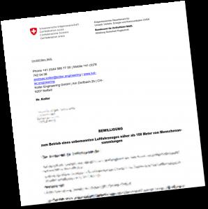 Bewilligung des Bundesamtes für Zivilluftfahrt BAZL