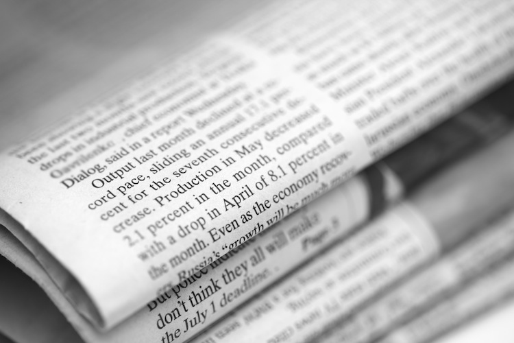 Newspapers heap. Close-up. Black and White.. Shallow depth of field.
